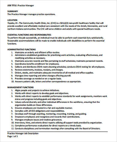 Medical Office Manager Job Description Sample   Examples In