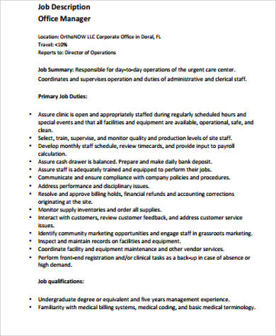 6 medical office manager job description samples sample - Office administrator job responsibilities ...