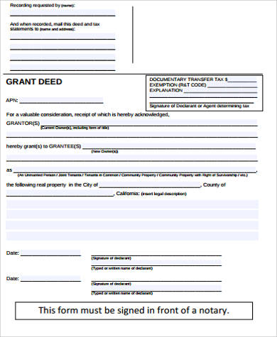 blank grant deed form sample