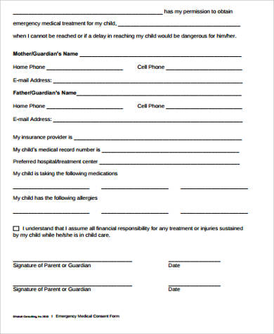 medical consent forms for child 8  Sample Child Medical Consent Forms | Sample Templates