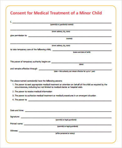 consent for medical treatment of a minor form sample child consent form 8 examples in word pdf 19156