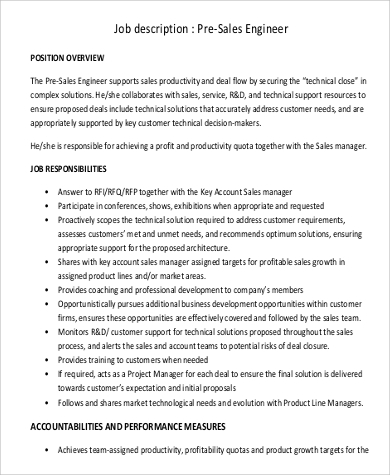 Sales Engineer Job Description Sample - 9+ Examples In Pdf