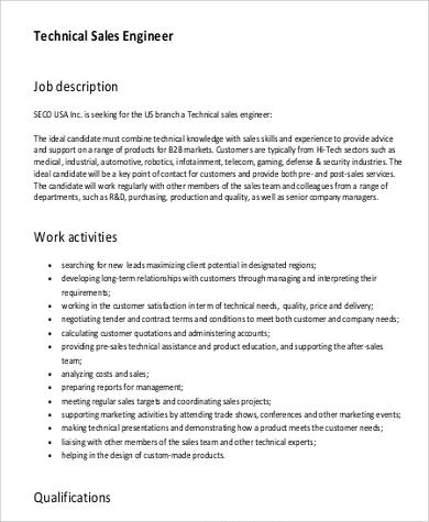technical sales engineer job description