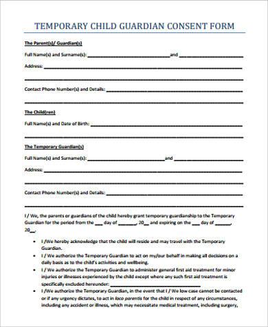 Sample Child Medical Consent Form   Examples In Word Pdf