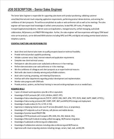 Sales Engineer Job Description Sample   Examples In Pdf