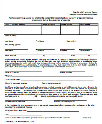 notarized child medical consent form