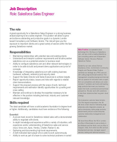 salesforce sales engineer job description