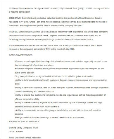 retail customer service associate resume