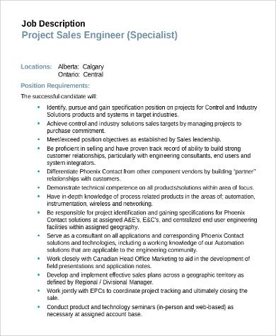 project sales engineer job description