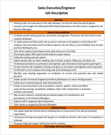 sales executive engineer job description