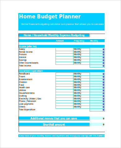 sample home budget spreadsheet 9 examples in xls