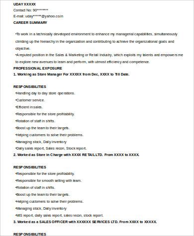 experienced retail sales resume