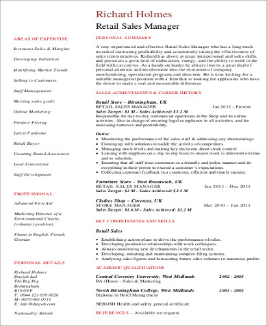 retail sales manager resume pdf