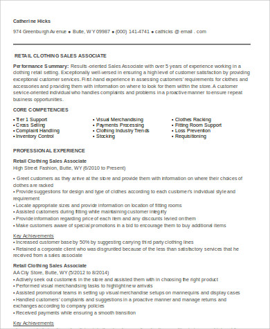 fashion retail sales associate resume format