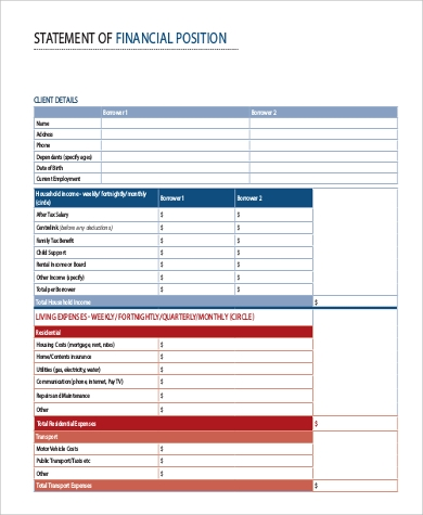 sample financial position statement