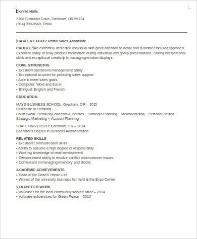 sample entry level retail sales resume1