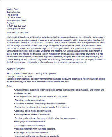 retail sales associate resume example1