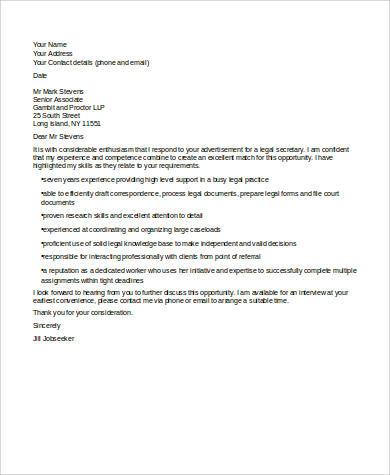 legal secretary cover letter