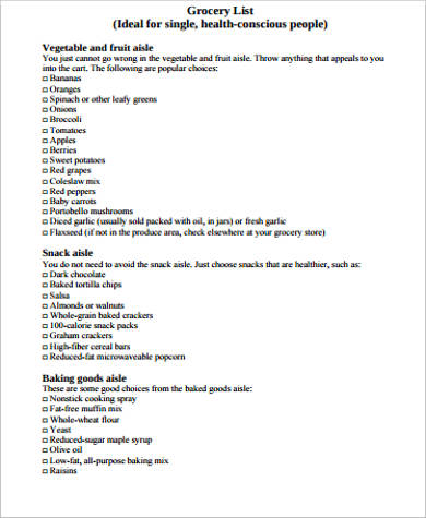 Printable Grocery List Sample 8 Examples in Word PDF