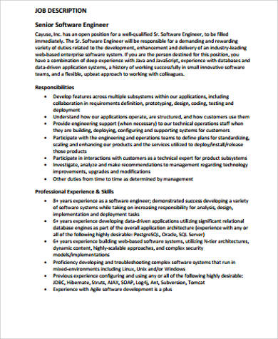 sample software computer engineer job description. Resume Example. Resume CV Cover Letter