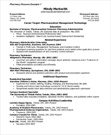pharmaceutical resume