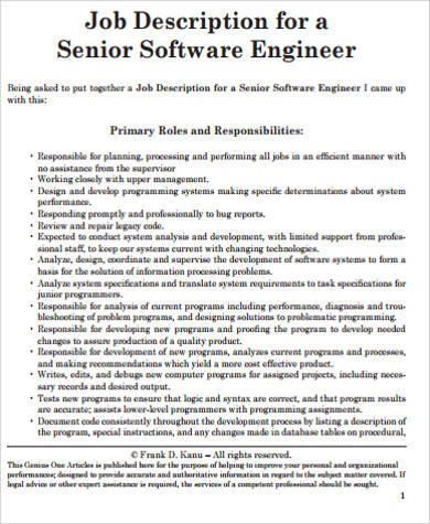Senior Engineer Job Description  BesikEightyCo