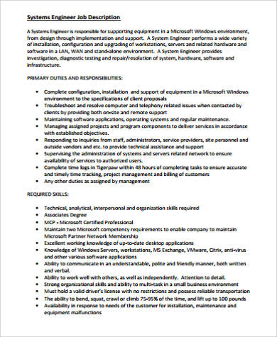 Computer Engineer Job Description Sample   Examples In Word Pdf