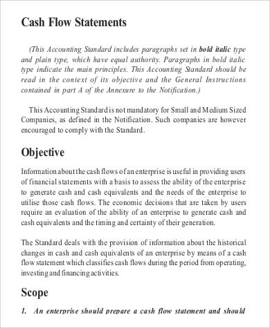 financial cash flow statement