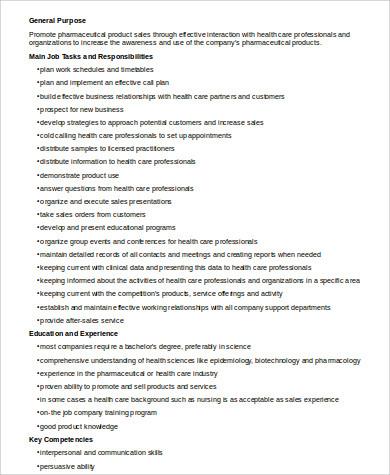 pharmaceutical sales job description