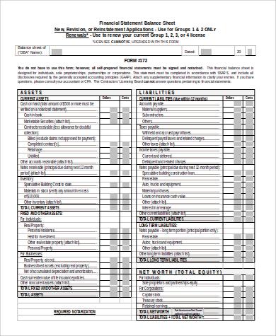 financial balance sheet statement