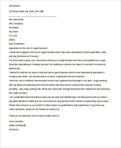 legal executive cover letter