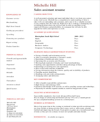 entry level sales assistant resume