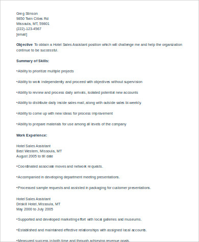 hotel sales assistant resume