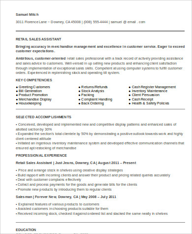 retail sales assistant resume