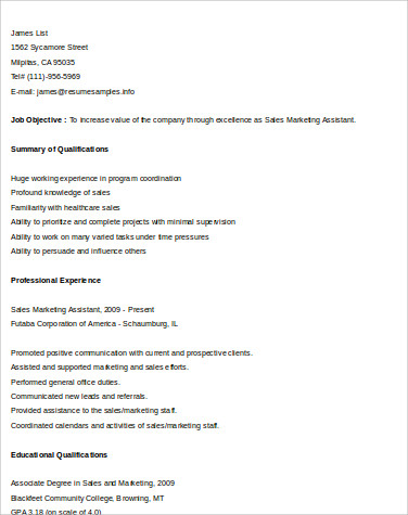sales and marketing assistant resume