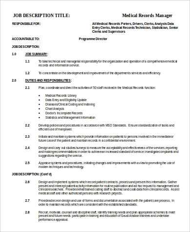 Medical Records Manager Job Description Sample   Examples In