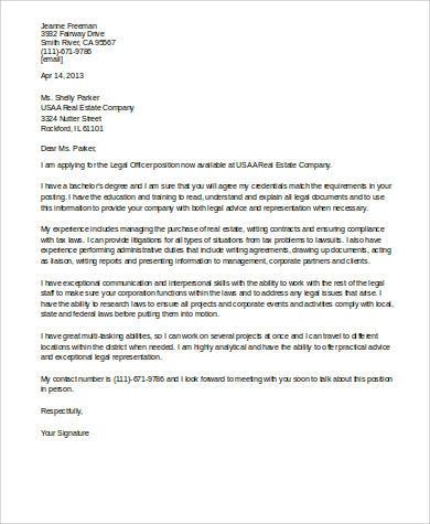 legal officer cover letter
