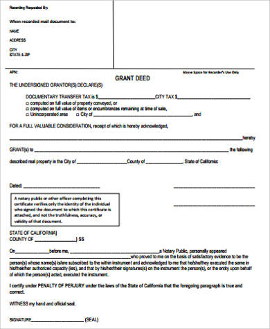 sample grant deed form
