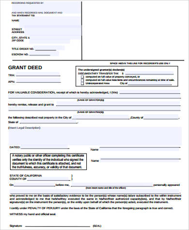 grant deed form printable
