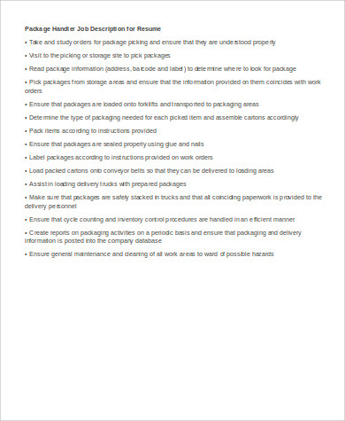 Packager Job Description Resume  Ups Package Handler Resume