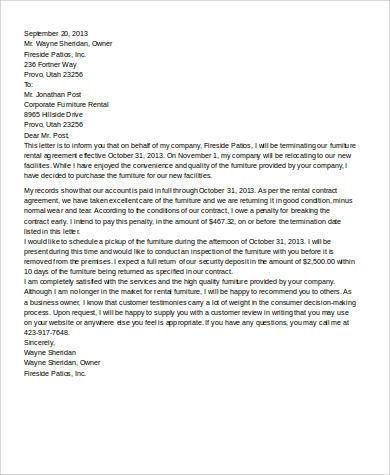 sample rental agreement termination letter