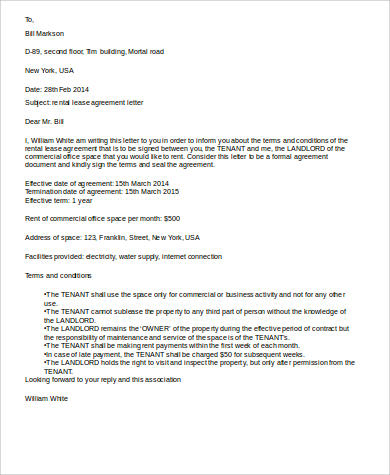 rental lease agreement letter