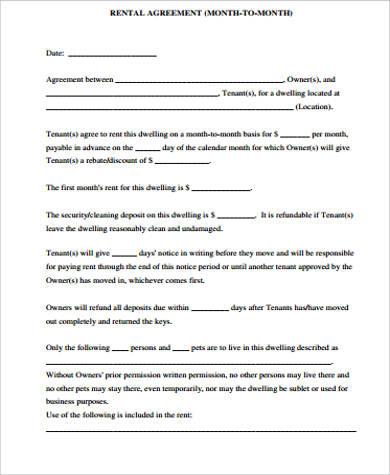 printable month to month rental agreement1