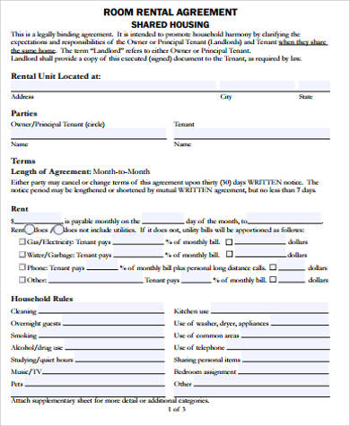 printable room rental agreement free