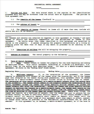 printable residential rental agreement1
