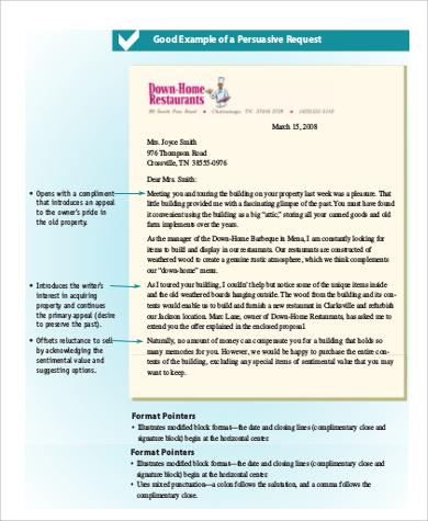 persuasive request letter