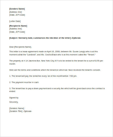 letter of rental agreement format