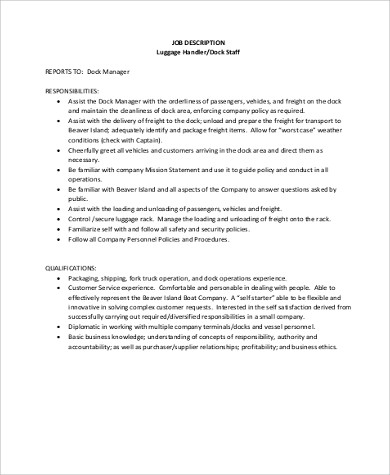 Package Handler Job Description Sample PDF