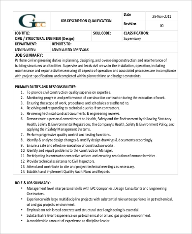 Structural Engineer Job Description Sample   Examples In Word Pdf