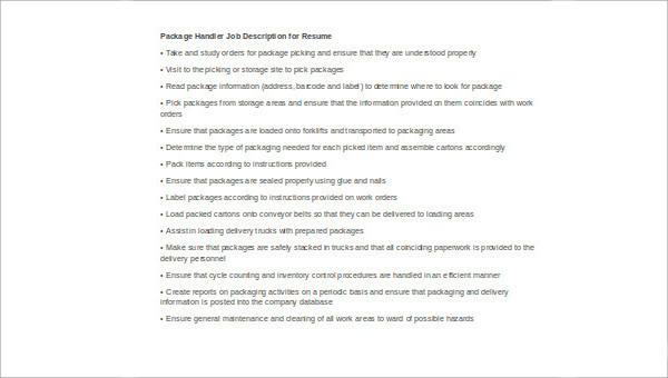 Package Handler Job Description Sample 8 Examples In Word